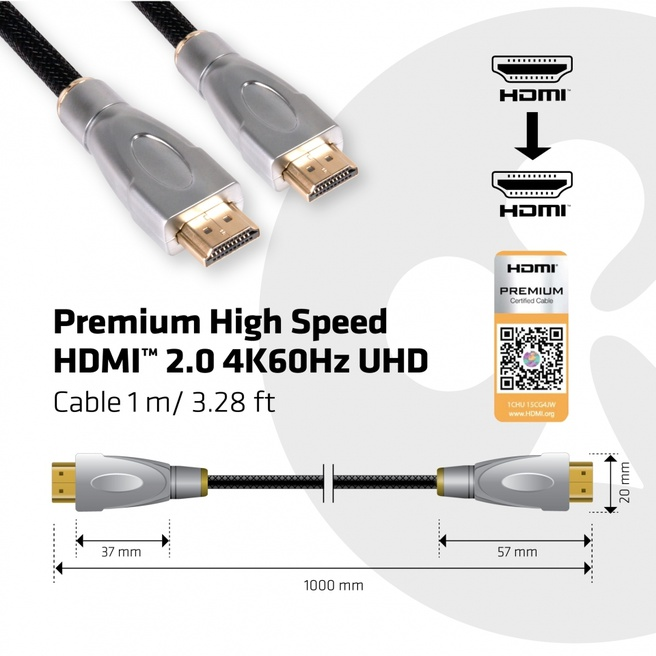 Club 3D Premium High Speed HDMI™ 2.0 4K60Hz UHD Cable 1Meter