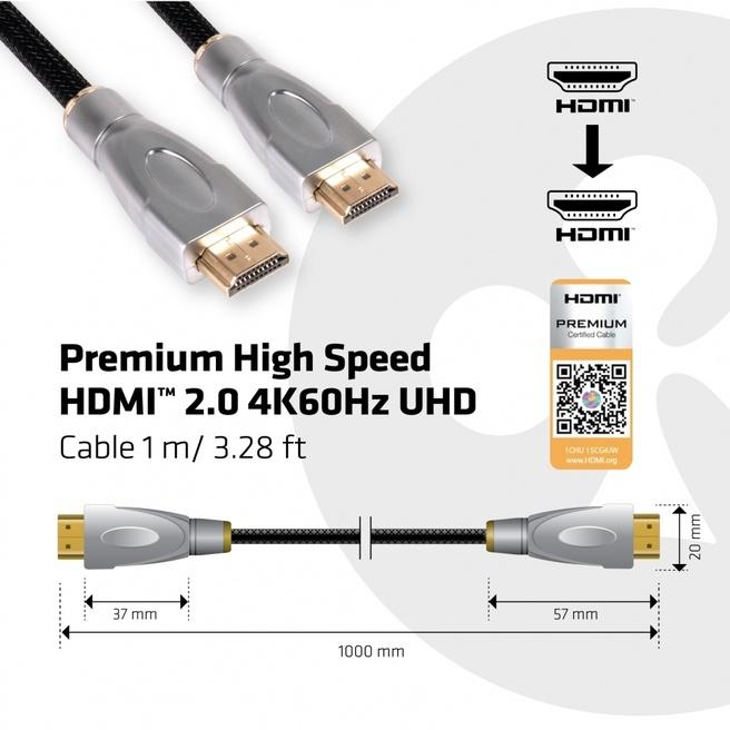 Club 3D Premium High Speed HDMI™ 2.0 4K60Hz UHD Cable 1Meter