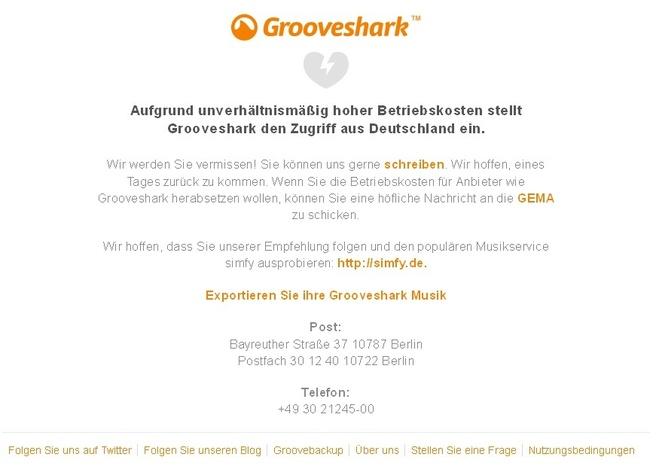 Grooveshark Duitsland