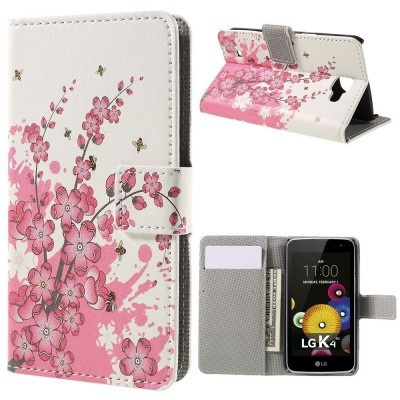 qMust LG K4 Wallet Case - hoesje met stand - Pink Blossom