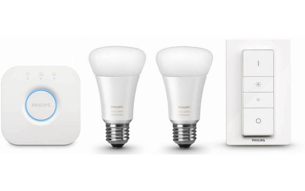 philips hue white ambiance starter pack e27 2 lampen 1 dimmer met bridge 2 0. Black Bedroom Furniture Sets. Home Design Ideas