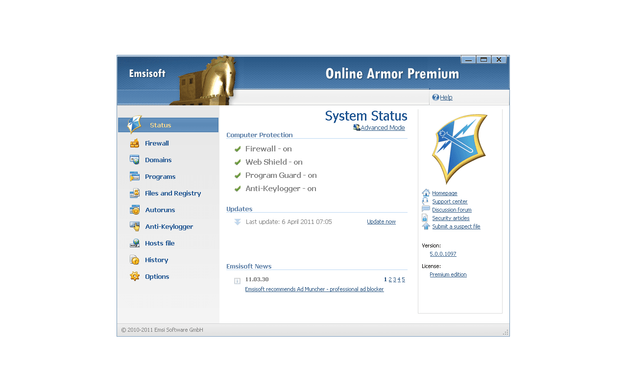 Emsisoft Online Armor 5.0 screenshot