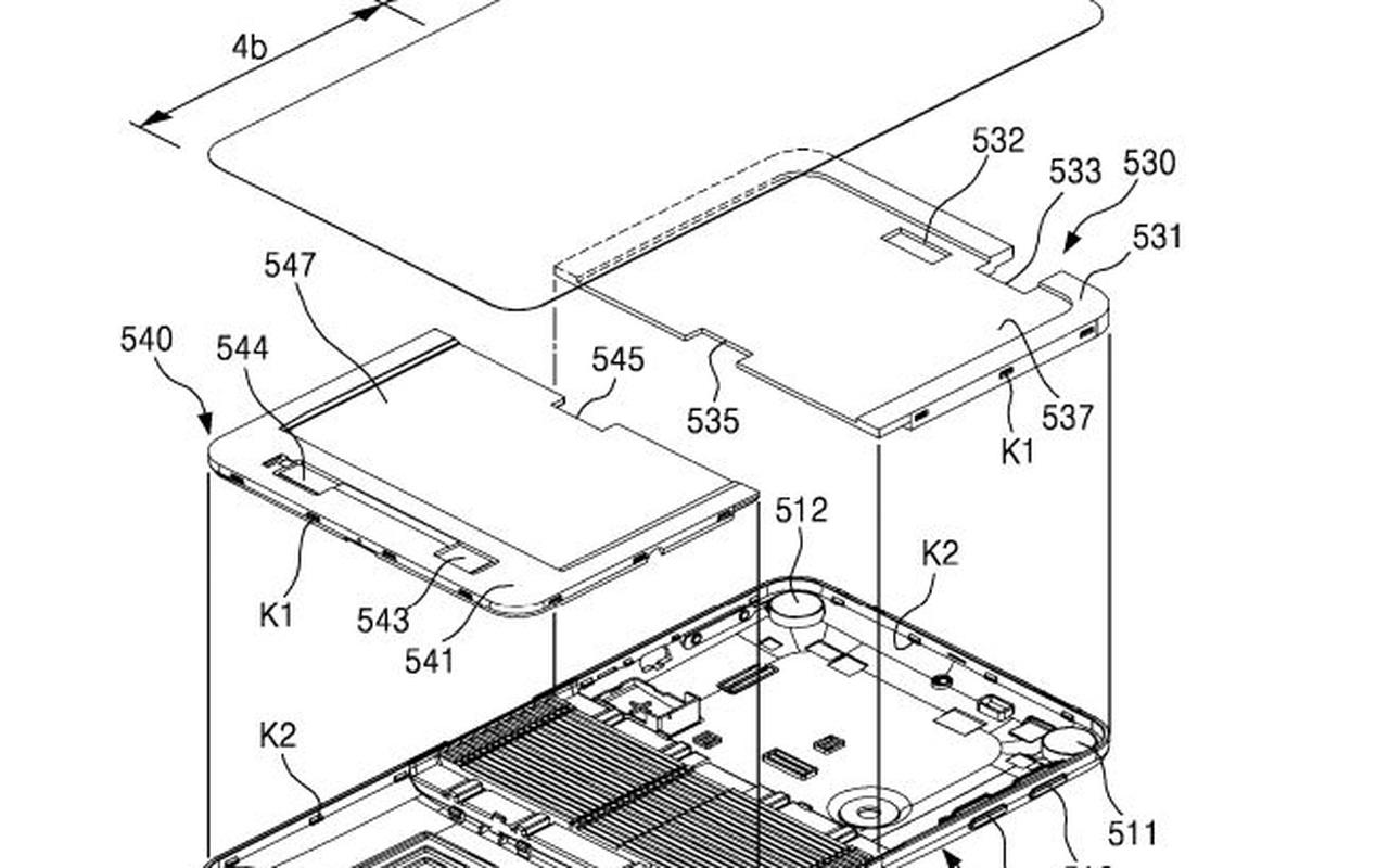 Samsung-patentaanvraag voor opvouwbare smartphone (maart 2016)