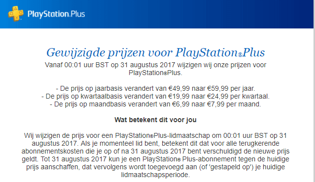 PlayStation Plus prijsverhoging