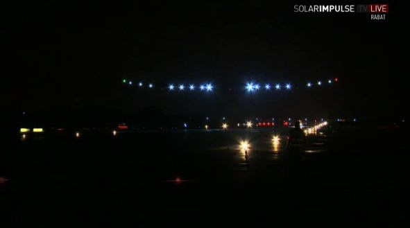 Landing van Solar Impulse in Rabat