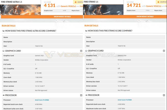 Nvidia GTX 1070 3DMark-score