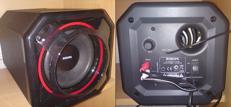 Subwoofer front naast rear