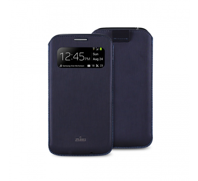 Puro Samsung Galaxy S4 Mini Silk Ecoleather Pouch Blauw