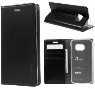 Mercury Samsung Galaxy S7 Blue Moon Wallet Case - TPU frame - Black