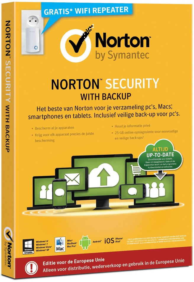 Symantec Norton Security with Backup 2.0 25 GB 1u - 10 apparaten NL