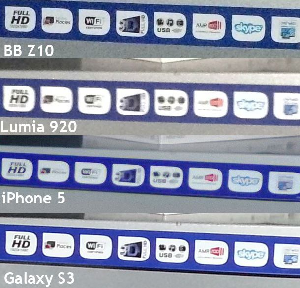 BlackBerry Z10 vs Lumia 920, iPhone 5 en Galaxy S3