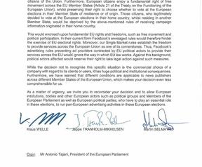 Brief van EU-instanties aan Facebook