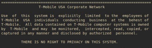 Screenshot die de hacker maakte van interne T-Mobile server