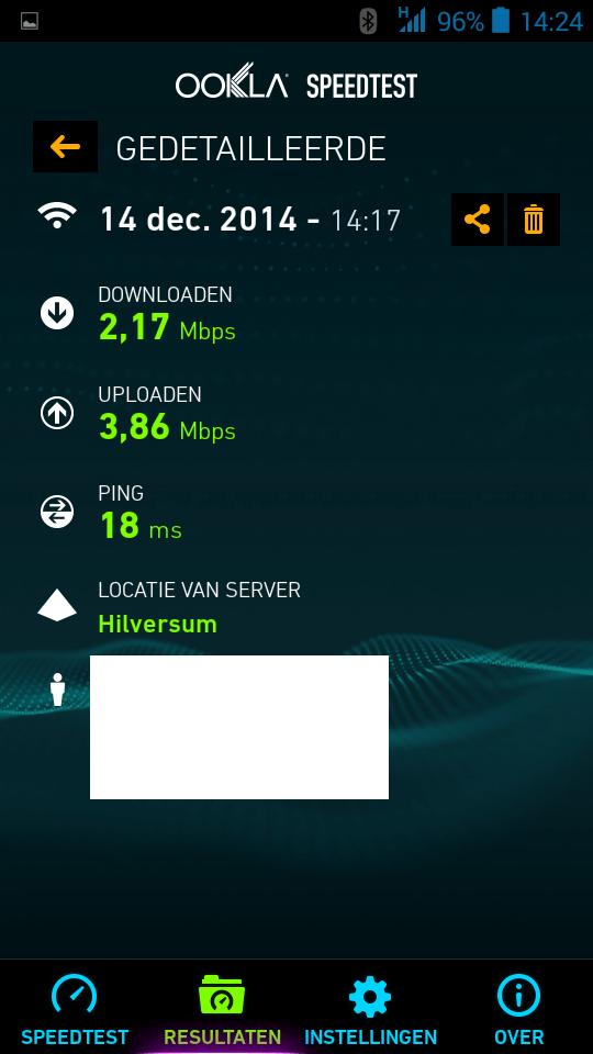 WiFi snelheid getest - 1e verdieping