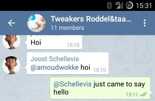 Telegram mentions