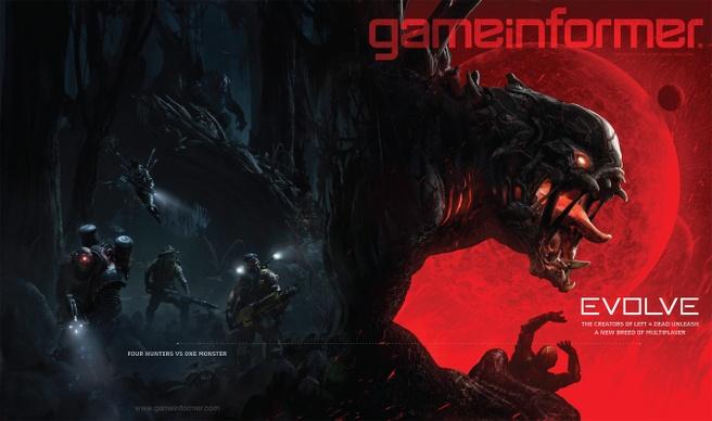 Cover Game Informer februari 2014 met Evolve voorop