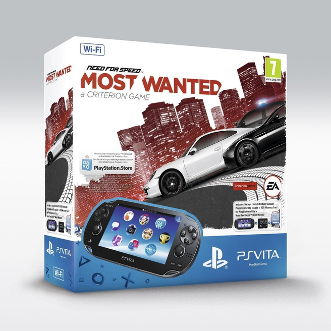Sony PlayStation Vita WiFi + Need For Speed Most Wanted (Voucher) + 4GB Zwart