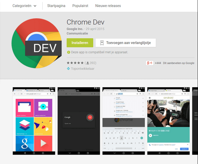 chrome dev channel android