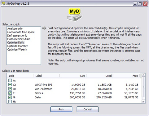 MyDefrag 4.2.3 screenshot (481 pix)