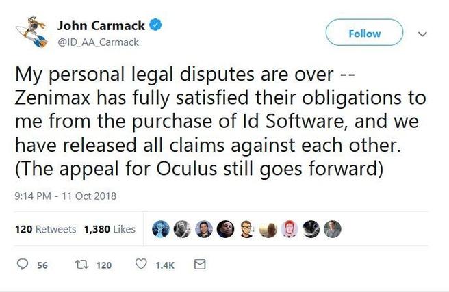 Tweet Carmack ZeniMax id