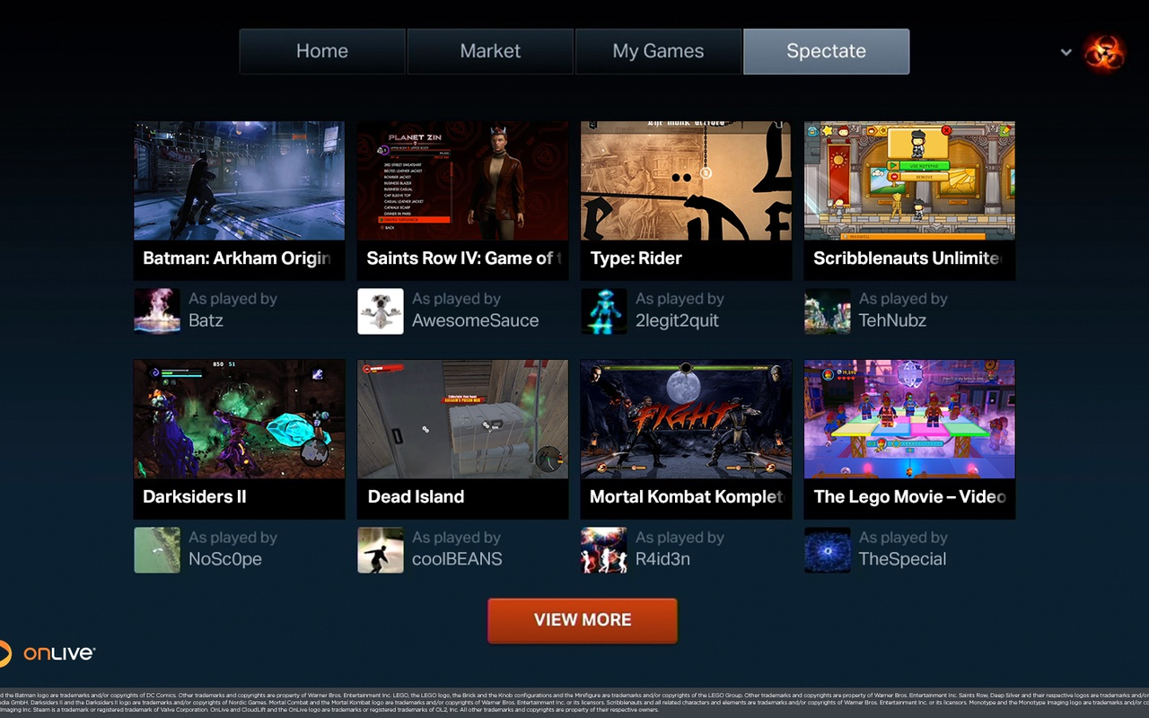 OnLive screenshots