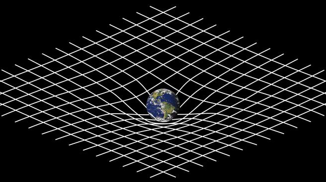 Ruimte-tijd, kromming rond de aarde. Credit: NASA