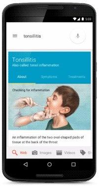Gezondheidsinformatie van Google op mobieltje