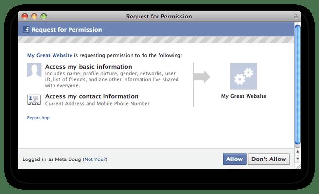 Facebook - telefoon+adres permissies