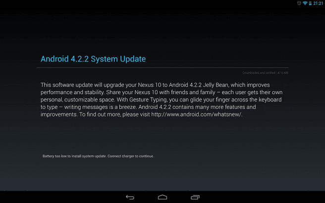 Android 4.2.2 update op Nexus 10
