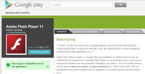 Flash Player in Play Store