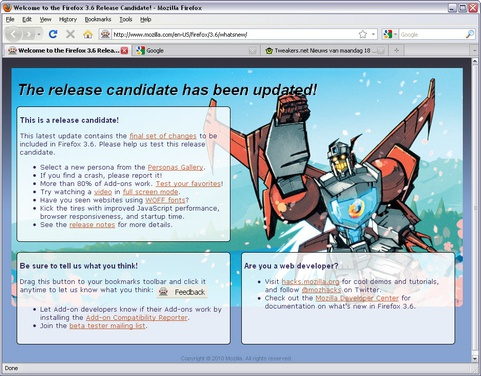 Mozilla Firefox 3.6 RC screenshot (481 pix)