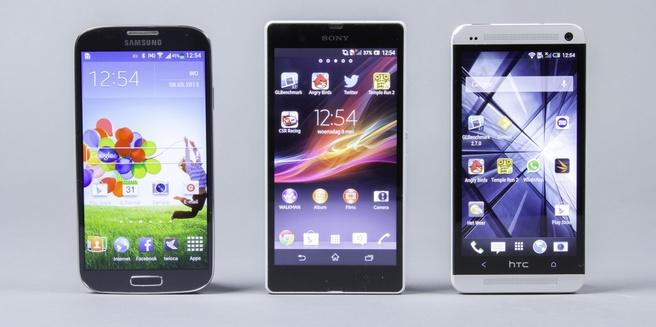 Galaxy S4, Xperia Z en HTC One