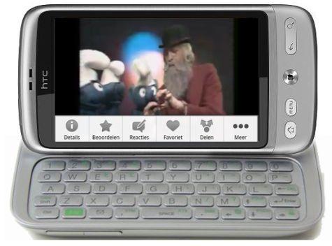 Mockup van HTC Vision: HTC Desire Silver met toetsenbord Touch Pro2