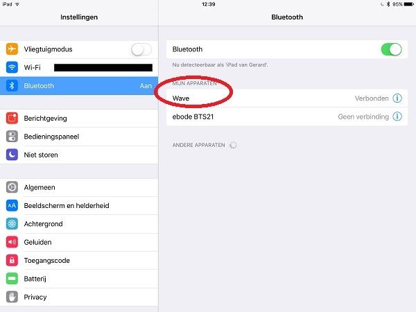 Wave 40 verbonden met iPad