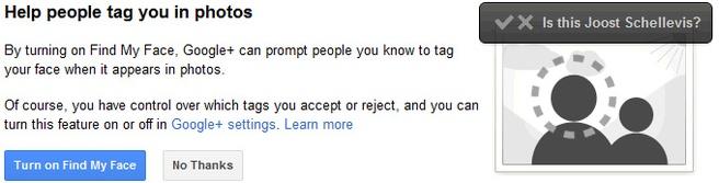 Gezichtsherkenning Google+