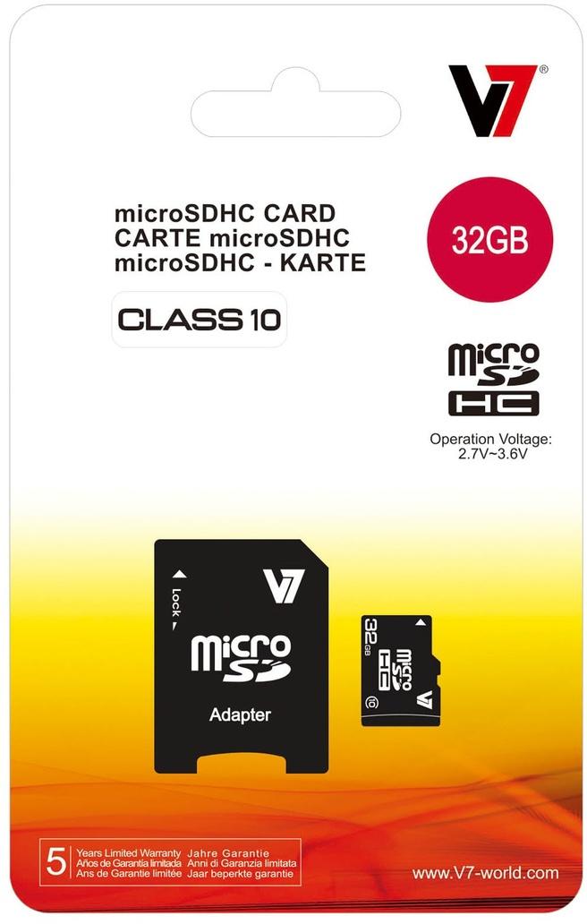 V7 microSDHC Class 10 + SD adapter 32GB
