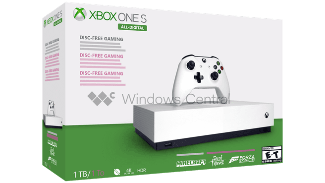Nagemaakte render Xbox One S All Digital. Bron: Windows Central