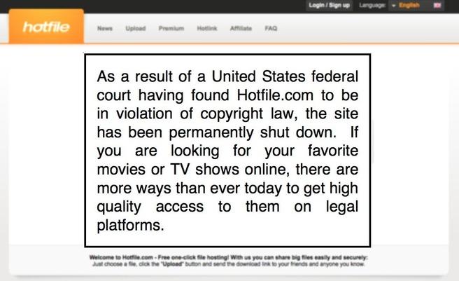 Sluiting van Hotfile