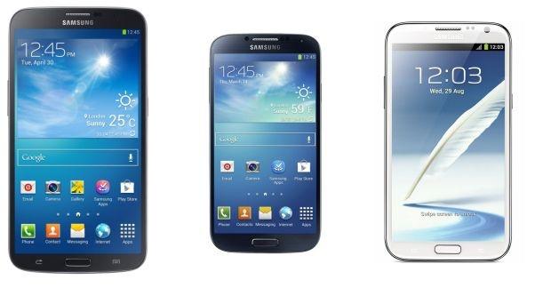 Samsung Galaxy Mega 6.3 naast Galaxy S4 en Note II (op schaal)