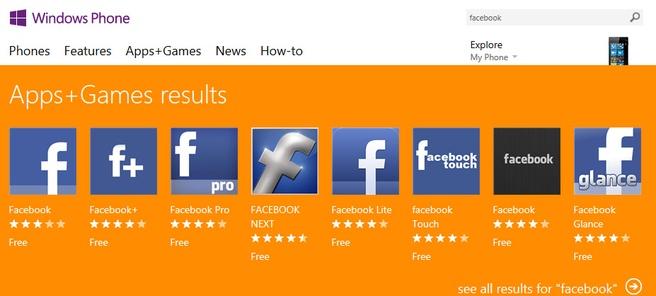 Facebook apps in de Windows Phone Store