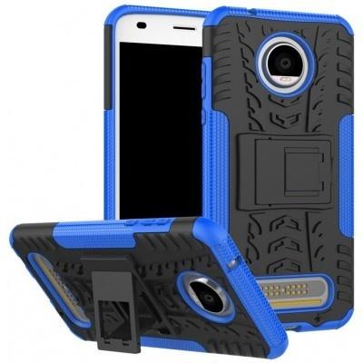 qMust Motorola Moto Z2 Play Rugged Hybrid Hoesje Blauw