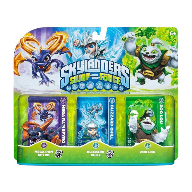 Skylanders Swap Force Triple Pack B ( Mega Ram Spyro, Blizzard Chill, Zoo Lou), Nintendo 3DS, PlayStation 3, PlayStation 4, Wii, Wii U, Xbox 360, Xbox One