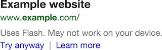 Flash waarschuwing Google