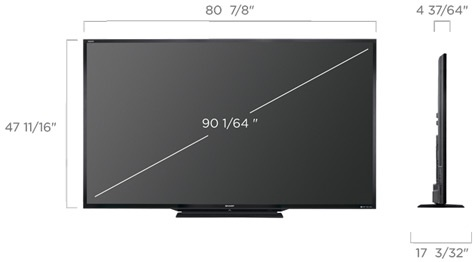 Sharp 90LE745 afmetingen