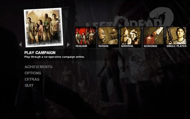 Left 4 Dead 2 main menu