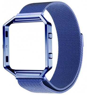 qMust Milanees armband voor Fitbit Blaze met frame - Magnetische sluiting - blauw