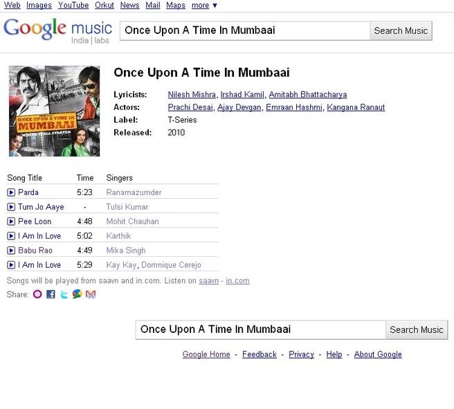 Google India muziekzoekdienst