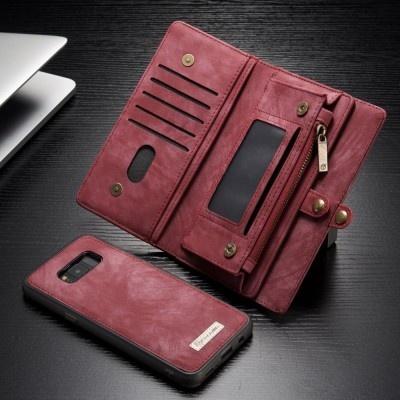 Caseme Samsung Galaxy S8 Luxe Lederen Portemonnee Hoesje - uitneembaar met backcover (rood)