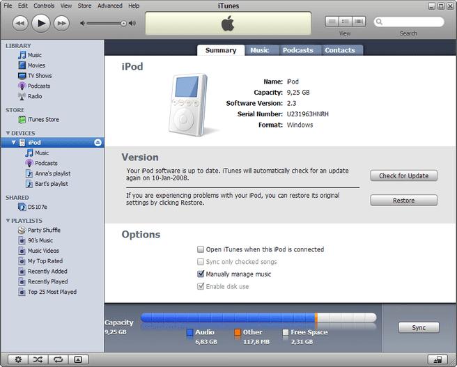 iTunes in 2008