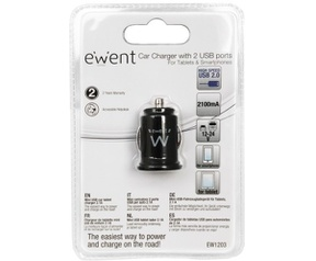 Eminent USB2.0 car charger Mini size two port (EW1203)